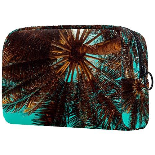 Bolso de Cosméticos Neceser de Viaje para Mujer y Niñas Organizador de Bolso Cosmético Accesorios de Viaje Estuche de Maquillaje Árbol de Coco 18.5x7.5x13cm