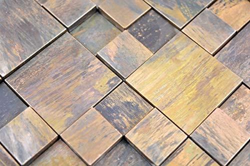 Mosaik Fliese Kupfer kupfer Kombination 3D braun Fliesenspiegel Küche MOS49-1512_m