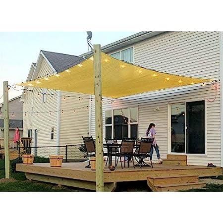 COCONUT Rectangle Sun Shade Sail Canopy, 6' x 10' Patio Shade Cloth Outdoor Cover - Sunshade Fabric Awning Shelter for Pergola Backyard Garden Carport (Sand)