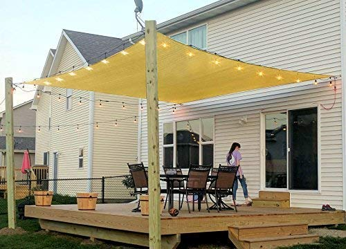 Rectangle Sun Shade Sail Canopy, 6' x 10' Patio Shade Cloth Outdoor Cover - UV Block Sunshade Fabric Awning Shelter for Pergola Backyard Garden Carport (Sand)