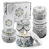 Yinuo Mirror Velas Perfumadas Juego de 6 Piezas Vela Aromática Regalo de Velas de Aromaterapia Cera de Soja Natural Vela de Viaje Adecuado para Yoga Baño Dormitorio, Estilo del Tarot