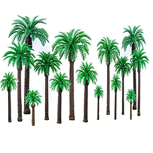 20 Stücke Palme Modell Mini Landschaft Kunststoff Herstellung für Landschaft Modell Kuchen Dekoration Grün