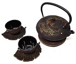commercial Happy Sales Imperial Dragon Black  Gold Cast Iron Tea Set dragon tea pot