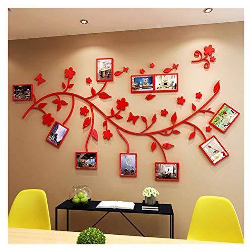 WM 3D DIY Foto Baum Zweig PVC Wandaufkleber/Selbstklebend Familie Wandsticker Wandbild Kunst Home Decor Schlafzimmer Aufkleber Fotorahmen 10.19 (Farbe: Rot, Größe: 300 x 164 cm)