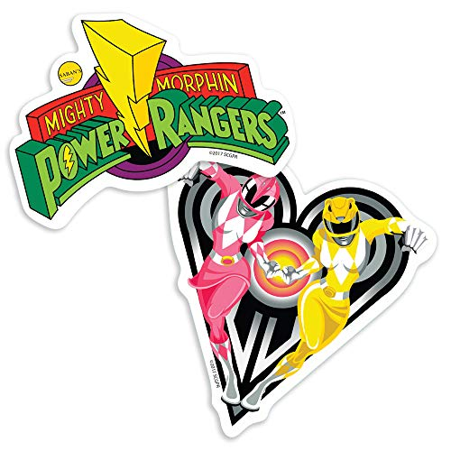 Popfunk Power Rangers Pink & Yellow Rangers and Logo Collectible Stickers