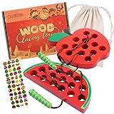 ZaxiDeel Fädelspiel für Kleinkinder - Holzspielzeug zum Einfädeln -1 fädelapfel und 1 Wassermelone mit Beutel und Aufkleber - Montessori Spielzeug für Baby reisespielzeug für unterwegs