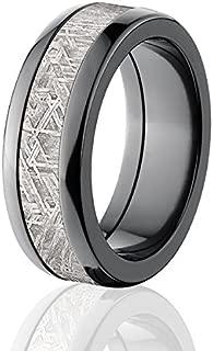 8mm Meteorite Ring w/ Black Zirconium