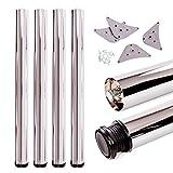 Juego de patas extensibles de mesa | Sossai Premium TBCH | Óptica de cromo | Altura regulable 710 mm + 20 mm | Set de 4 unidades