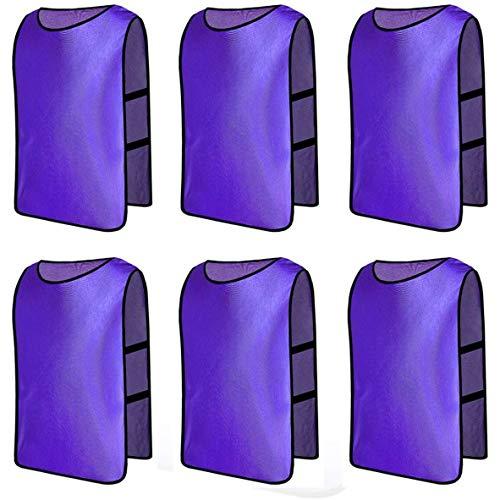 Senston 6 X Sport pinnies Adulti Rissa di Formazione Gilet Calcio Pettorali Nero e 3 Dimensioni