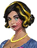 Forum Women's Pop Art Betty Bam Curly Black Yellow Wig Cartoon Style Costume Accessory