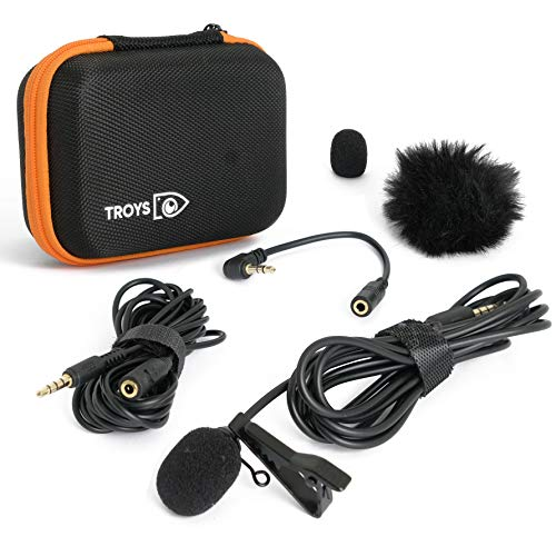Professional Omnidirectional Lavalier Lapel Microphone - Condenser Lav Mic for Recording Podcast/Vlogging/Interview/Audio/Video/Youtube - Compatible with iPhone/Android/Tablet/DSLR