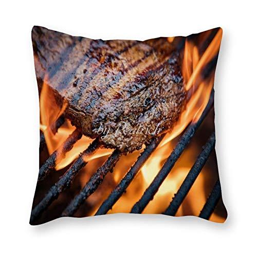 Viowr22iso Fundas de almohada decorativas de 22 x 22, jugosas barbacoas, carne, cocina, comida, verano, funda de almohada para sofá, cama, silla