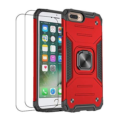 通用 Funda iPhone 7 Plus Carcasa, iPhone 8 Plus Fundas con Templado Protector [2 Piezas] Silicona Magnetica Case 360 Grados Anillo Soporte Armor Antigolpes Tapa (iPhone 7/8 Plus, Rojo)
