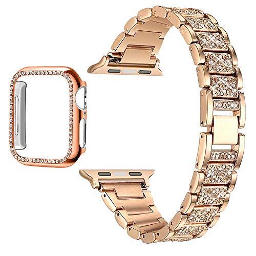 Pulseira para Apple Watch Series 6, 5, 4, 3, 2, 1, pulseira feminina de diamante para iWatch 6, 44 mm, 40 mm, 42 mm, 38 mm (iWatch 42 mm, preto)