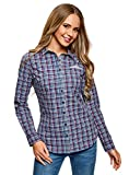 oodji Ultra Mujer Camisa Entallada de Algodón, Azul, ES 34 / XXS