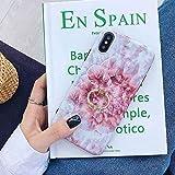 HUAI Caso de Shell Textura de la Flor del teléfono for el iPhone 11 Pro XR XS MAX 6 7 8 Plus 6S Suave IMD Dedo anular de Cristal Cubierta Trasera del teléfono (Color : J, Material : For iPhone 11)