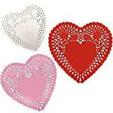 100 Pcs Mini Valentine Heart Doilies 4 Inch Paper Lace Doilies with 3 Colors Red Pink White Valentine Heart Doilies Valentine Craft Gift Set for Wedding Party Decoration Ornaments