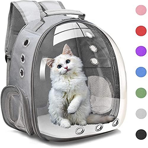 JIJK Mochila portadora de mascotas, bolsa de burbujas, portátil con doble hombro para gatito, bolsa de espalda de cápsula espacial transparente para senderismo, camping al aire libre