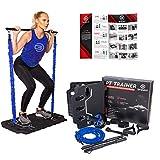 BRAYFIT Home Gym Equipment, Full Body Workout | Including Ab Roller, Squat Bar, Door Anchor, Padded Handles, Foldable Base, Resistance Bands, Wrist/Ankle Straps