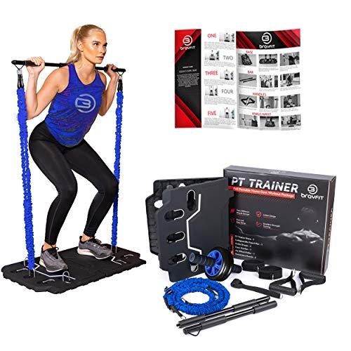 BRAYFIT Portable Home Gym Equipment, Full Body Workout | Including Ab Roller, Squat Bar, Door Anchor, Padded Handles, Foldable Base, Resistance Bands, Wrist/Ankle Straps