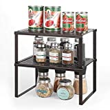 Cabinet Shelf Organizer 2 Tier Stackable Expandable Metal Kitchen Counter Shelf Spice Storage Rack for Cupboard Brown