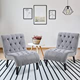 AVAWING Armless Accent Chairs, 2 PCS Fabric Living Room Chairs with Wood Legs, Upholstered Lounge Chair for Bedroom, Grey
