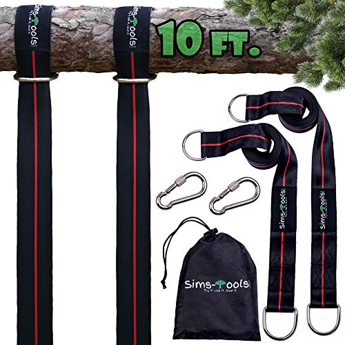 Sims-Tools - Tree Swing Hanging Kit Straps - 2 Extra Long Adjustable Straps 10ft and 2 Strong Carbines - Appropriate for Every Swing Set and Hammock-Outdoor Rope Swing - Quick and Easy Installation
