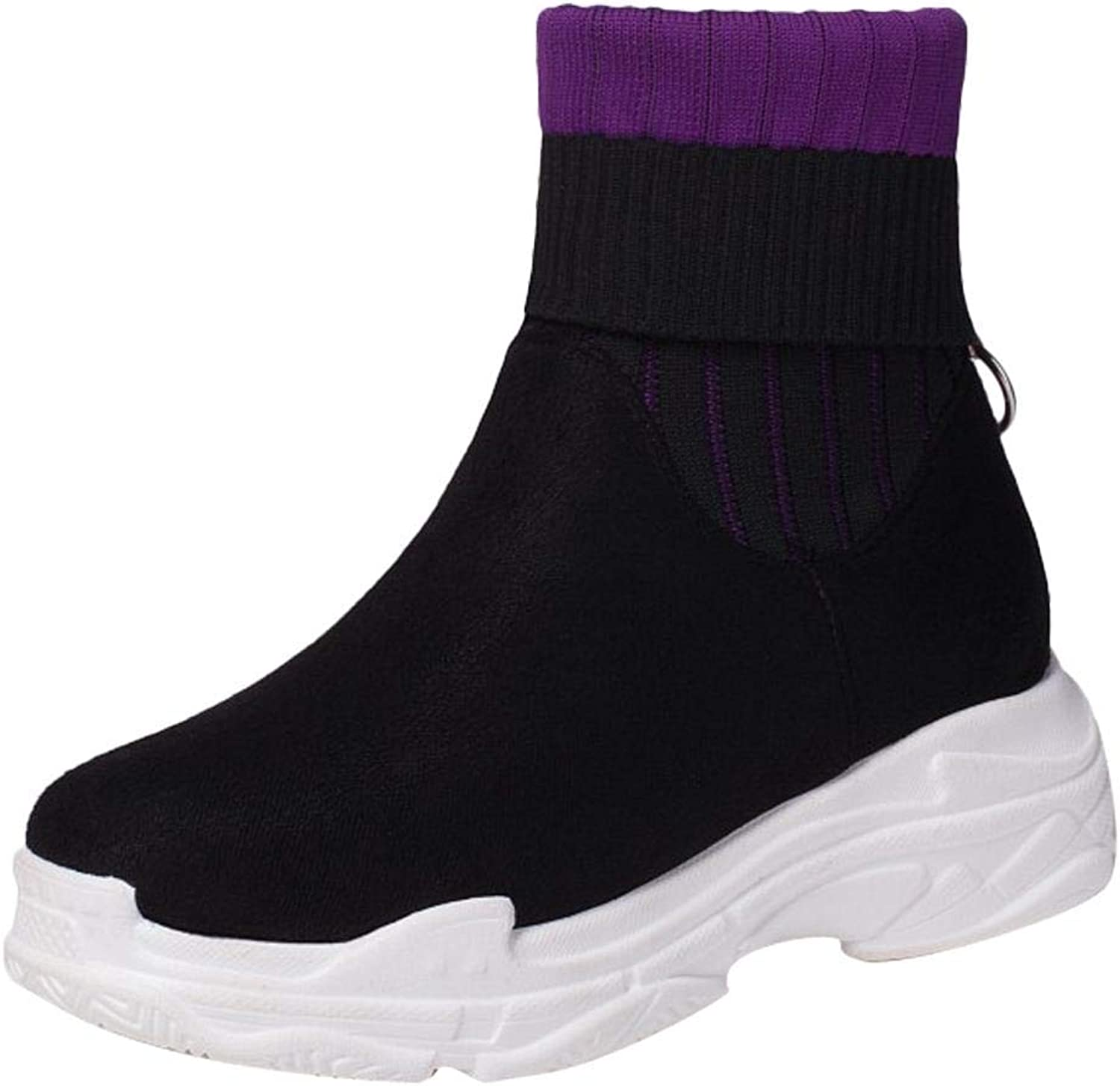 Gcanwea Women's Platform High Top Boots Shockproof Comfortable Warm Girls Flexibility Simple Casual Breathable Lightweight Round Toe Purple 5.5 M US Boots