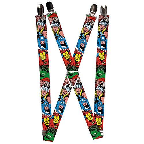 Buckle-Down mens Marvel Comics Suspenders - 1.0- Avengers Superheroes Close-up Suspenders, Multicolor, 3.5 x 2.5 US