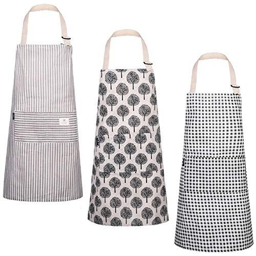 3 Stücke Baumwoll Leinen Kochschürze Verstellbare Kchenschrze mit Halsband Weiche Kochschrze Zum...