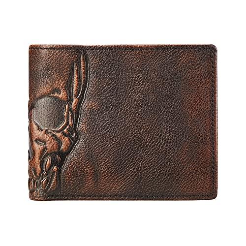 Men Minimalist Skull Full Grain Leather Bifold Wallet with Multi Card Capacity for Husband Boyfriend Dad Teenager - Slim Double ID Windows RFID Blocking Purse - Birthday Anniversary Christmas Gift