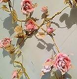 RJB Stone - Guirlanda de rosas (1,8 m), color rosa