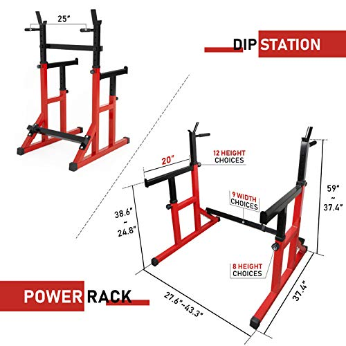ER KANG Multi-Function Barbell Rack, 600LBS Capacity Fitness Adjustable Dip Stand Squat Rack Dipping Station for Weight Lifting, Bench Press, Squat, Home Gym-2021 Upgraded