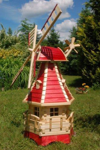 Deko-Shop-Hannusch Moulin à vent décoratif en bois avec roulement à billes et éclairage solaire 1,25 m rouge