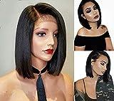Maxine Perruque sans colle - 100% cheveux naturels brésiliens non traités - de cheveux raides, courts, avec dentelle frontale - Ligne pré-pincée avec cheveux de bébé, cheveux Remy - Pour femme noire