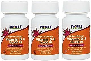 NOW Vitamin D-3 10,000 IU,120 Softgels (360 Softgels)