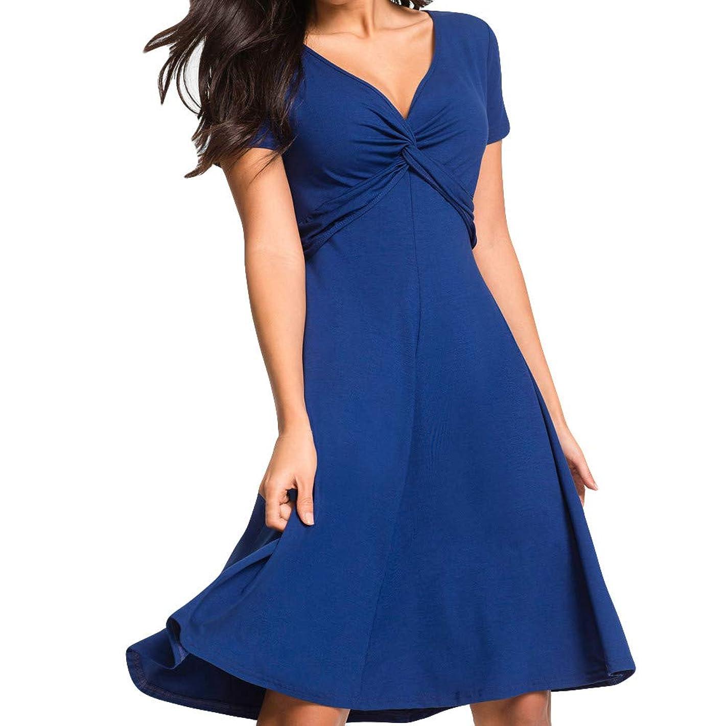 STORTO Women Solid Plus Size Short Sleeve V Neck Casual Beach Sundress Evening Party Mini Dresses