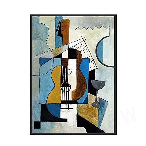 Cartel de la exposición de la Bauhaus nórdica e impresión artística abstracta geométrica mural de moda moderno lienzo sin marco pintura E 20x30cm