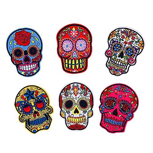 """CEYIKON 2.95""""X3.94 Parches del Cráneo, 6 Piezas De Hierro En Parches Bordados para Ropa, Cráneo Coser Apliques para Las Chaquetas, Sombreros, Mochilas, Pantalones Vaqueros, Cráneo Parches Decorativos"""