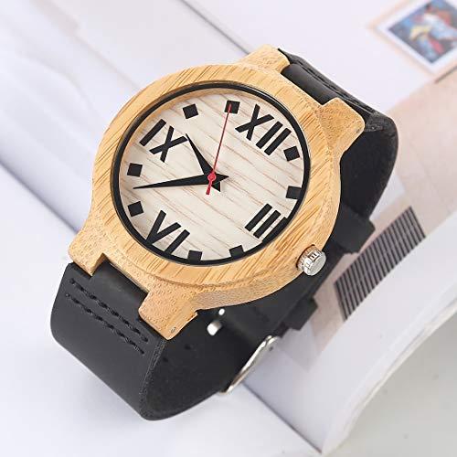 Uhren Fashion Persönlichkeit Big Round Dial Bambus Shell-Uhr mit Lederband Asun (Color : Color12)