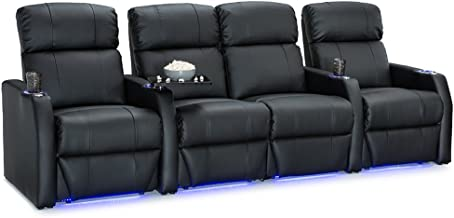 Seatcraft Sienna Black Bonded Leather Home Theater Seating - Row of 4 Seats with Center Loveseat - Manual Recline