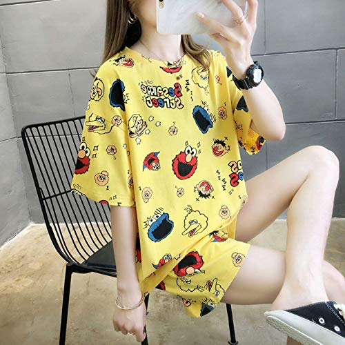 N/F Pijamas de Mujer con Estampado de Dibujos Animados Bonitos, Pijamas de Mujer con Cuello Redondo y Cintura elástica de Manga Corta para niñas