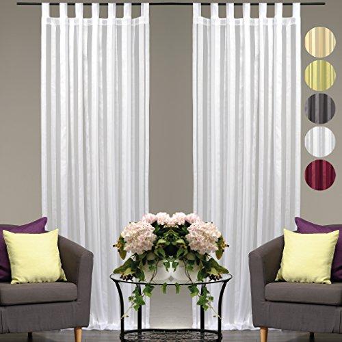 Dekoschal Streifen halbtransparent 2er Pack Auswahl: Schlaufenschal 140x 145cm weiß - perlweiß, Gardine Vorhang