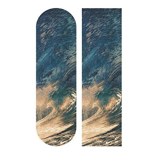 Krafig Skateboard Griptape Paper Sea Wave einseitig bedruckt Longboard Griptape 33.1x9.1inch