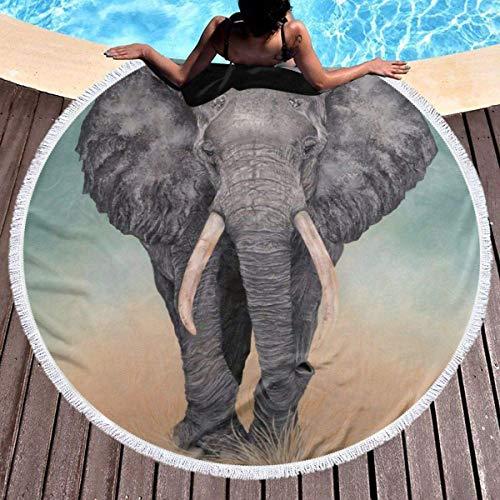 AEMAPE Toalla de Playa Redonda Manta Elefante Gigante Toallas de Playa Alfombra de Picnic