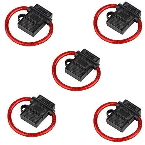 Audioproject A211-5 x Pack - zekeringhouder ATC max 40A met 6 mm2 10GA kabel spatwater beschermd - Extra dikke kabel - voor platte zekering