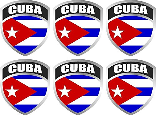 6-2' x 1.7' Cuba Cuban Flag Shield Decal Badge Vinyl Hard Hat Sticker Car Bumper Window