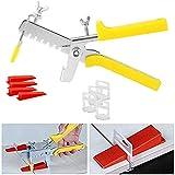FCX-SHEARS Sistema de nivelacion cuñas, Set de Herramientas del Sistema de Nivelación para Azulejo de Plástico de Piso Pared (Amarillo),3mm-Wedge300+Base600+Pliers1