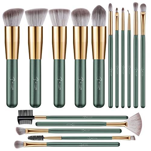 BESTOPE Makeup Brushes 16 PCs Makeup Brush Set Premium Synthetic Foundation Brush Blending Face Powder Blush Concealers Eye Shadows Make Up Brushes Kit (Green)