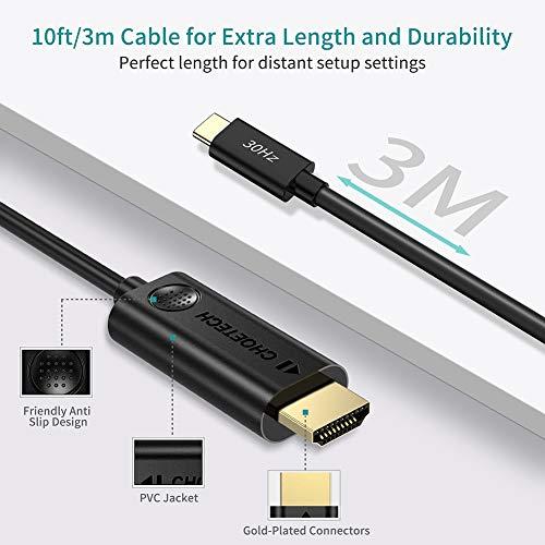 USB C auf HDMI Kabel (3m), CHOETECH USB Typ C auf HDMI Kabel (Thunderbolt 3 Kompatibel) für Apple MacBook Pro 2019/2018,iPad Pro 2018,Surface Book 2,Galaxy Note 10/S10/S10+/S9,Huawei P30/Pro/Mate 30